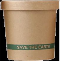 """Envase redondo cartón kraft + TAPA """"Save the earth"""""""