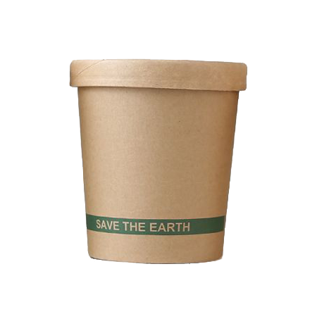 "Envase redondo cartón kraft ""Save the earth"""