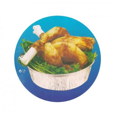 Tapas de cartón p/envases pollos asados