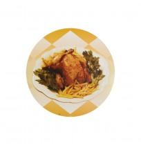 Tapas de cartón circulares p/envases pollos asados