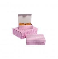 Cajas de pastas cuadros rosas