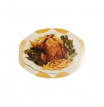 Tapas de cartón ovaladas p/envases pollos asados